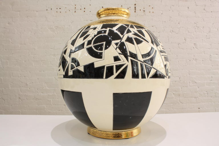 Hand-Crafted Vase Emaux de Longwy, Motifs For Sale