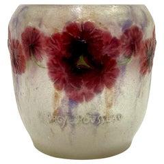 """Vase """"Geranium"""" Pink, Violet and White Glass Paste by Gabriel Argy-Rousseau"""