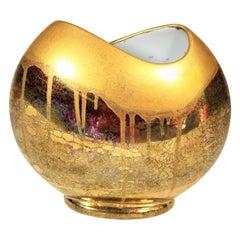 Vase Gold Metallic Glazed Ceramic Signed
