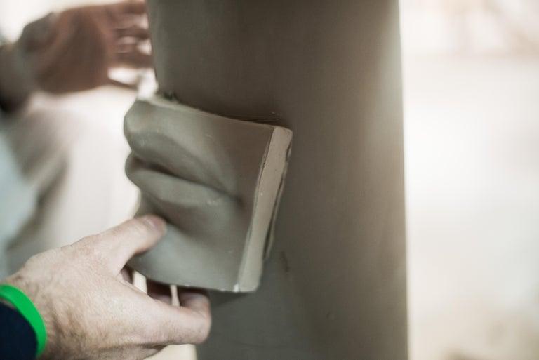 Vase Hands, Matt White Ceramic, Italy For Sale 3