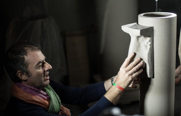 Vase Hands, Matt White Ceramic, Italy For Sale 2