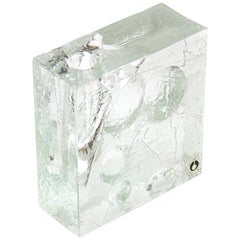 Vase Ice Glass Sculptured by Pukeberg