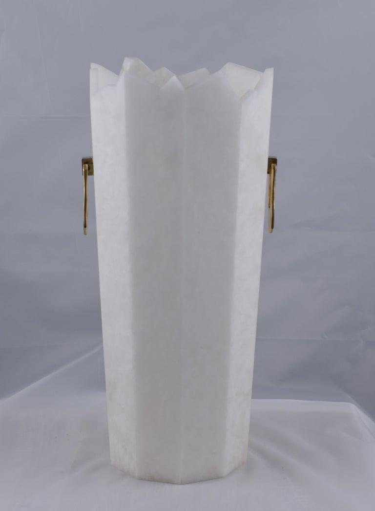 Vase in alabaster model iceberg, handles in cast brass.