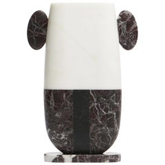 Vase in Bianco, Rosso and Black Marbles by Matteo Cibic, Made in Italy in Stock