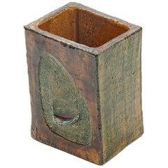 Vase in Ceramic by François Lanusé, France 1960, Green and Brown Color, Signed