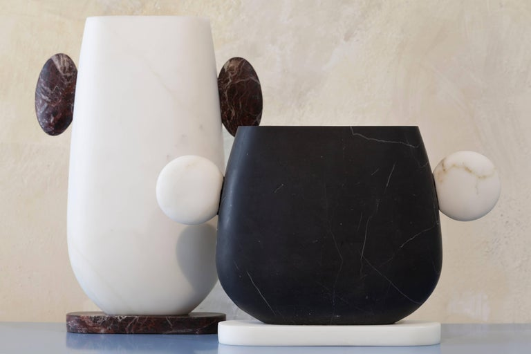 Vase in Nero Marquinia and Bianco Michelangelo Marble by Matteo Cibic, Italy For Sale 2