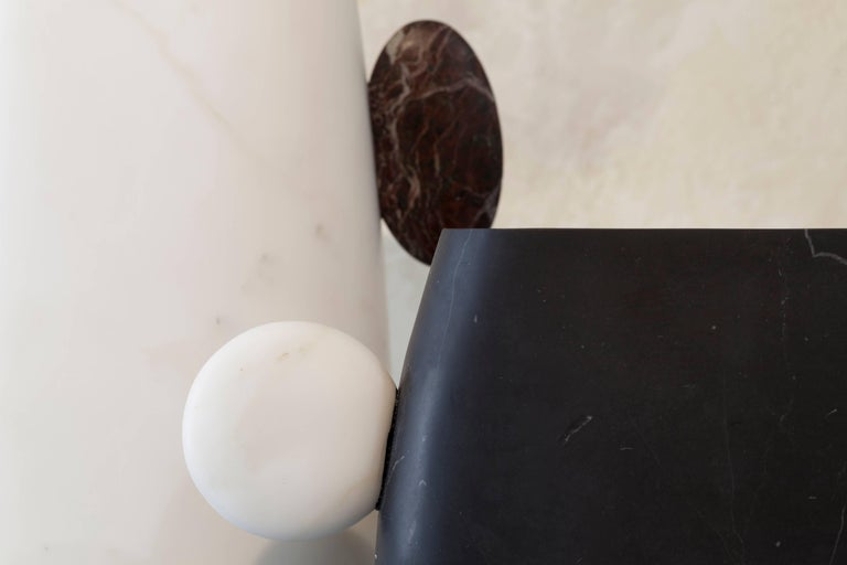 Vase in Nero Marquinia and Bianco Michelangelo Marble by Matteo Cibic, Italy For Sale 3