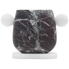 Vase in Red and White Marble, by Cibic, Made in Italy in Stock