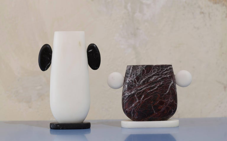 Contemporary Vase in Rosso Levanto and Bianco Michelangelo Marble, by Cibic, made in Italy For Sale