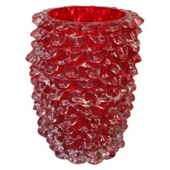 Vase in Ruby Red Murano Glass with Rostrato Spikes Decor