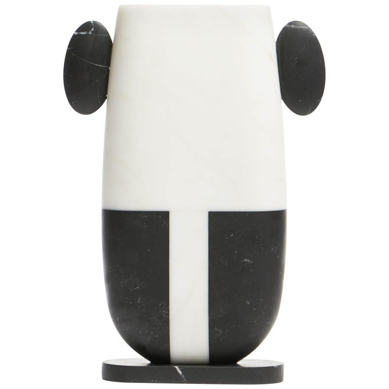 Vase in White and Black Marbles by Matteo Cibic, Made in Italy For Sale