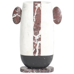 Vase in White, Black and Red Marbles by Matteo Cibic, Made in Italy in Stock
