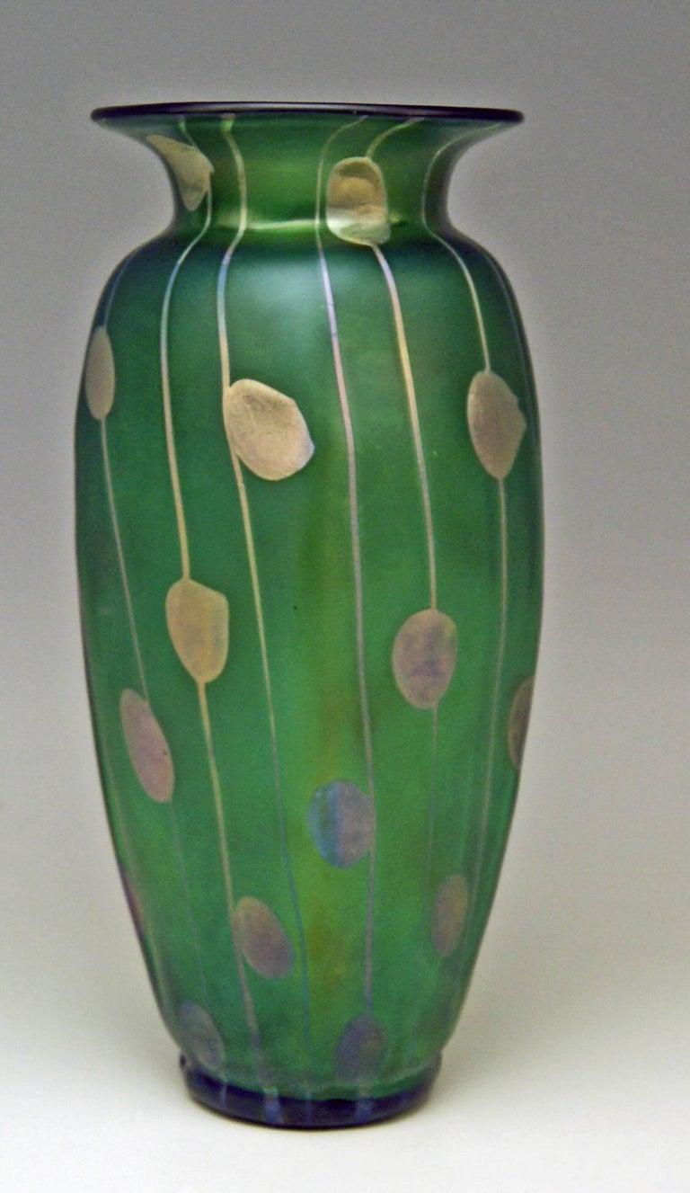 Austrian Vase Loetz Bohemia Art Nouveau Decor Spots and Stripes Kolo Moser, circa 1900 For Sale