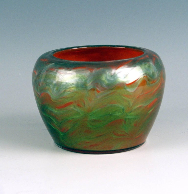 Art Nouveau Loetz vase (iridescent green - orange shaded)