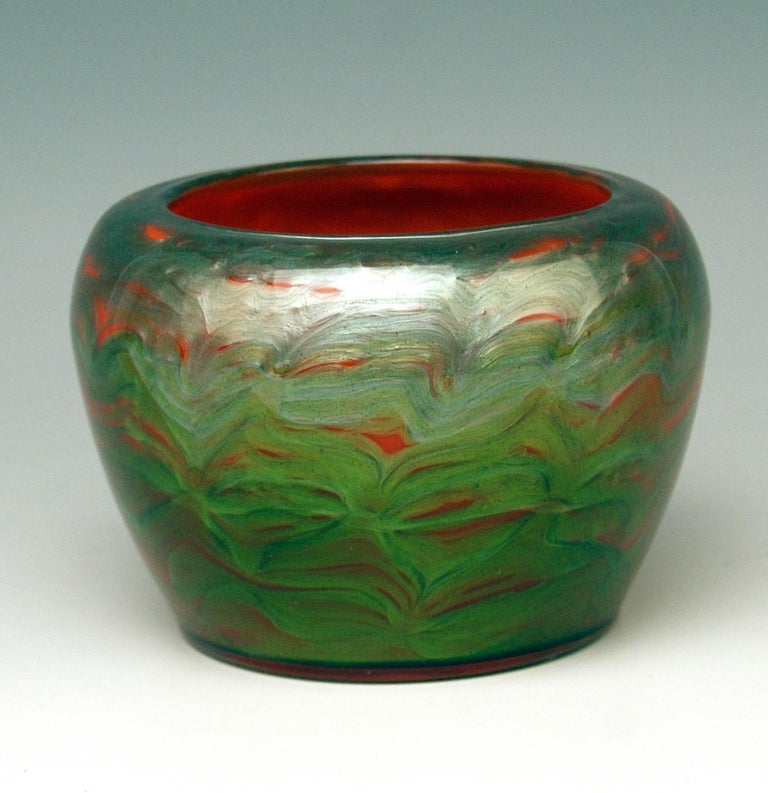 Early 20th Century Vase Loetz Bohemia Art Nouveau Decor Titania Genre 4212 Orange Green Glass, 1906 For Sale