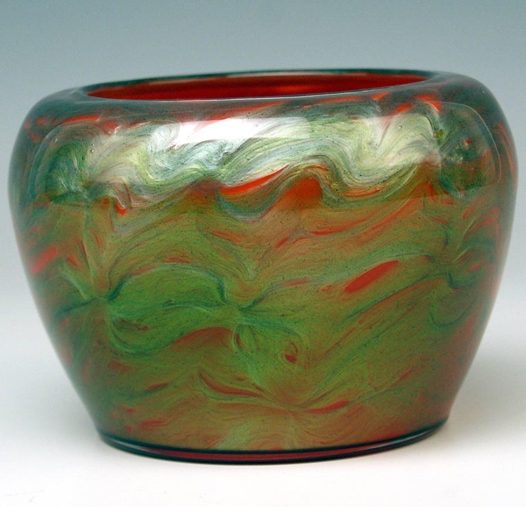 Vase Loetz Bohemia Art Nouveau Decor Titania Genre 4212 Orange Green Glass, 1906 For Sale 3