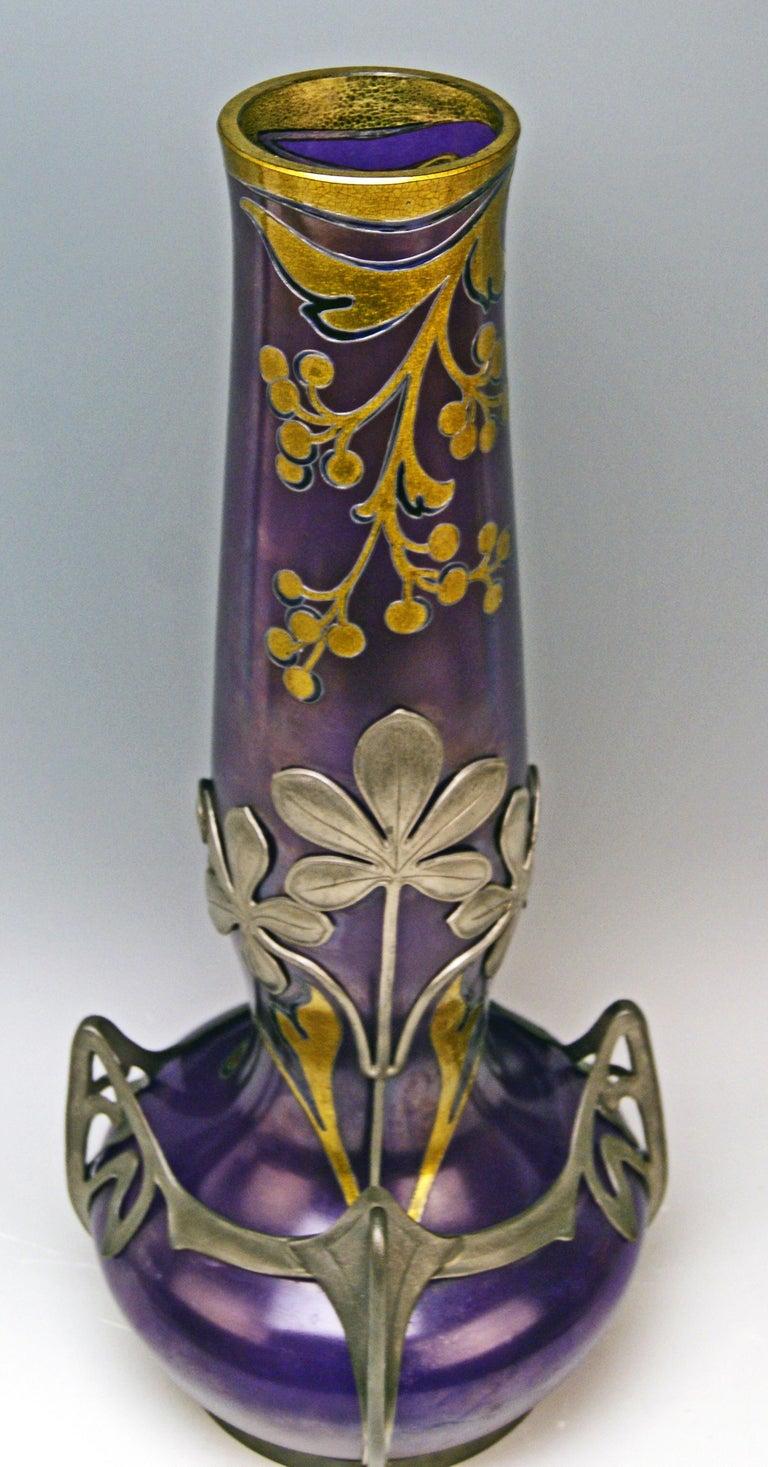 Vase Loetz Widow Klostermuehle Art Nouveau 1902 Phaenomen Genre Turmalin 2/538  In Excellent Condition In Vienna, AT