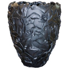 Vase Lotus, in Resin, Matte Black Color, Italy