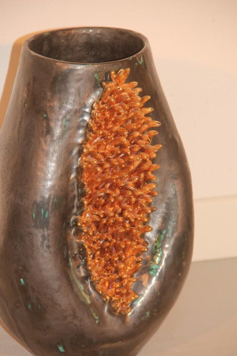 Particular and special vase luster glazes with gold sequin decorations liquid Italian design, 1970s.