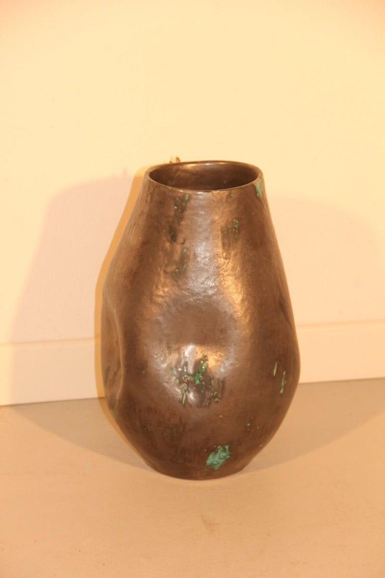 Vase Luster Glazes, with Gold Sequin Decorations Liquid Italian Design, 1970s For Sale 1