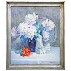 Vase of Flowers Watercolor Painting, Francine Gaudrion, 1929