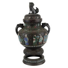 Vase or Censer with Fu Dog on the Lid, Bronze, Cloisonné Enamel, 18-19th Century