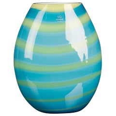 Vase Oval Under Sea Medium, Turquoise, in Glass, Italy