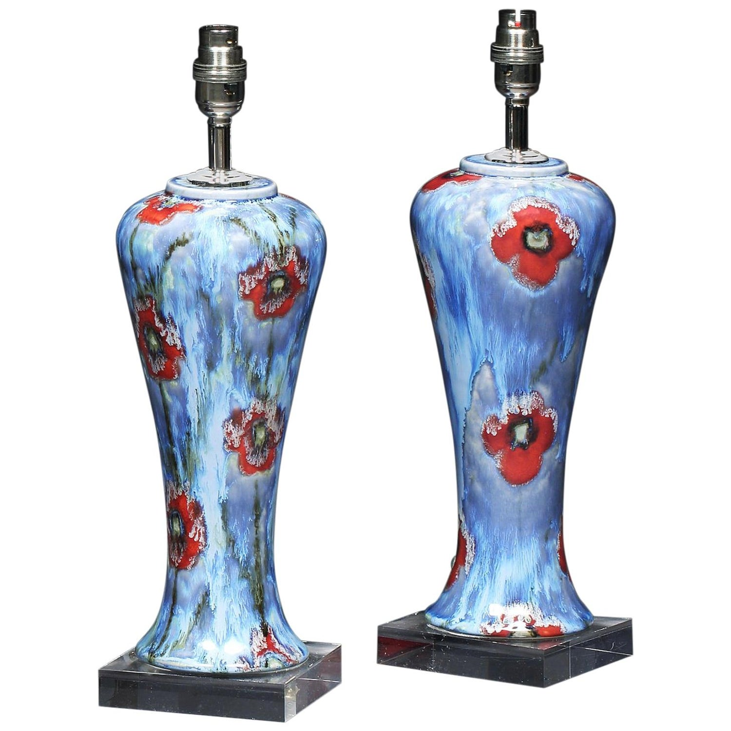Vase Pair of Cobridge Poppy and Ice Wildflower Blue Red Green White