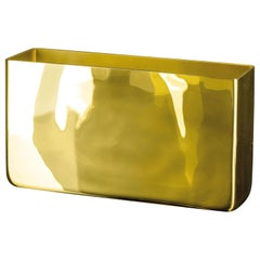 Vase Rectangular Wallet, Gold Color, in Glass, Italy