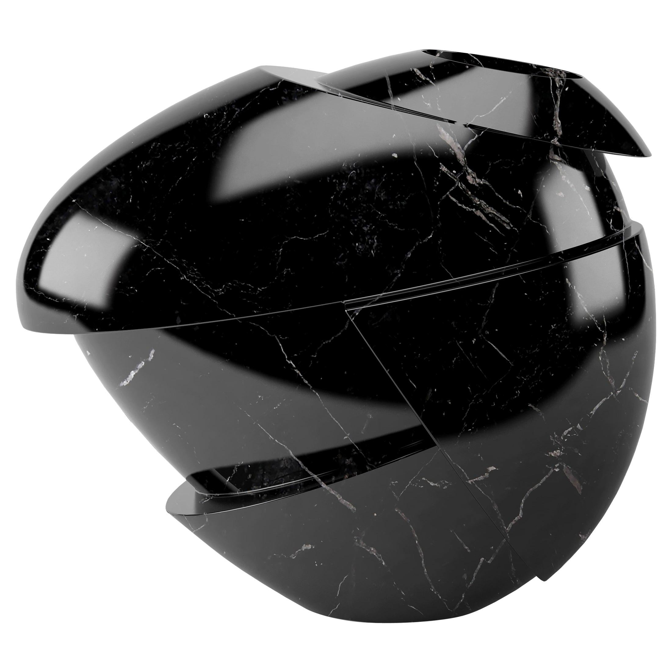Vase Sculpture Black Marquina Marble Contemporary Italian Design