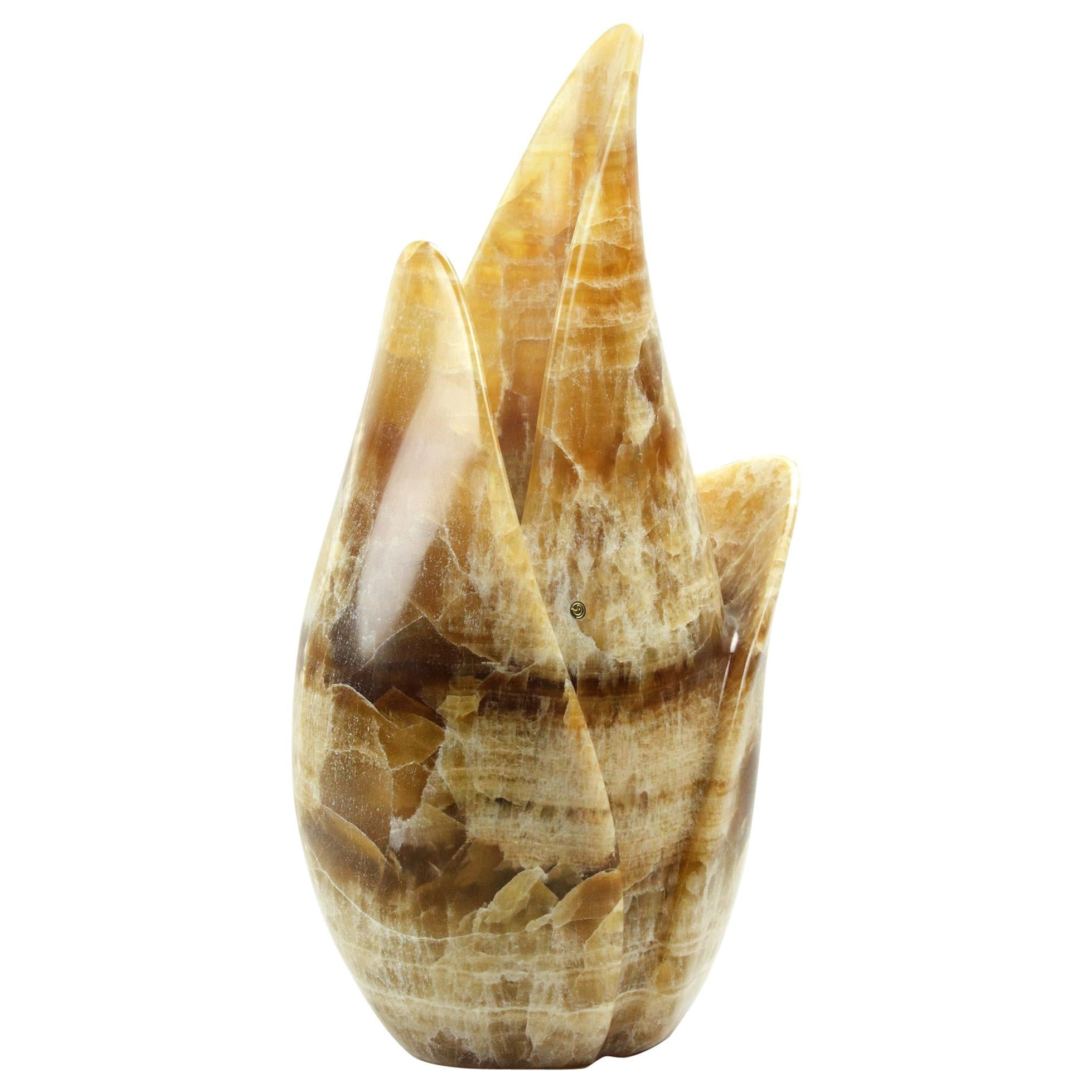 Vase Sculpture Handmade from Solid Block of Amber Onyx by Pieruga Marble, Italy