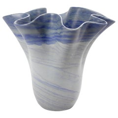 Vase Sculpture Handmade of Solid Block of Azul Macaubas Quartzite Pieruga, Italy
