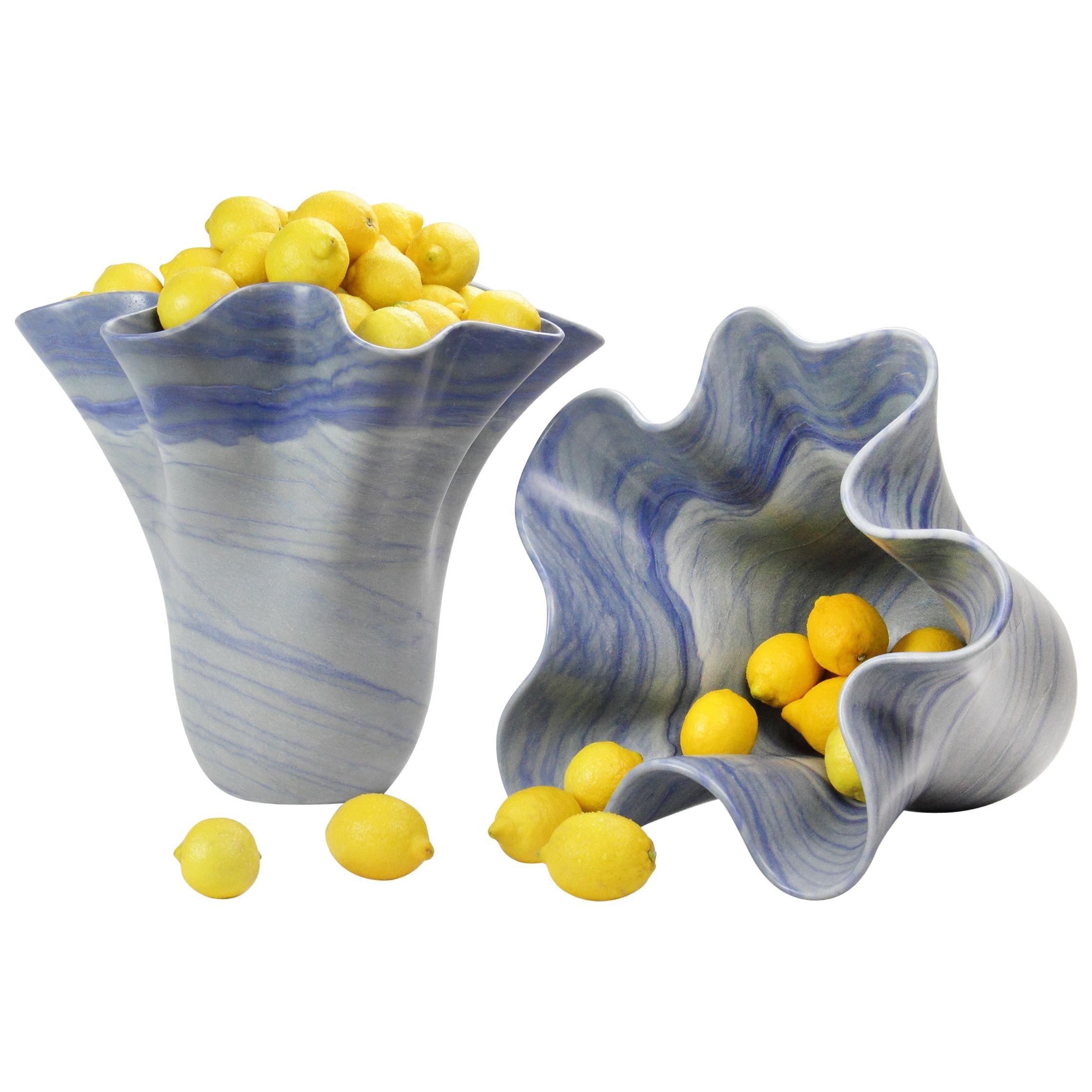Vase Sculpture Handmade of Solid Block of Azul Macaubas Quartzite Pieruga, Italy