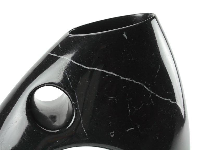 Vase Sculpture in Black Marquina Marble Italian Contemporary Design For Sale 3