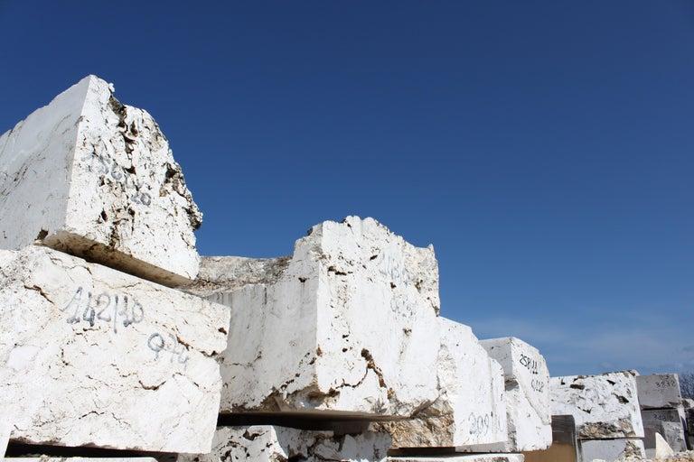 Vase Sculpture in White Carrara Marble Italian Contemporary Design For Sale 6