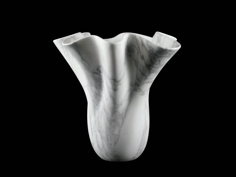 Vase Sculpture White Arabescato Marble from Carrara by Pieruga Marble For Sale 4