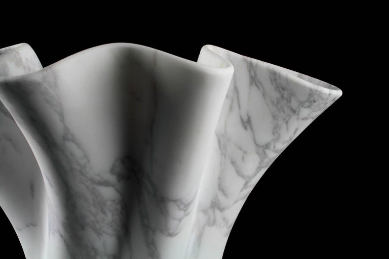 Vase Sculpture White Arabescato Marble from Carrara by Pieruga Marble For Sale 6
