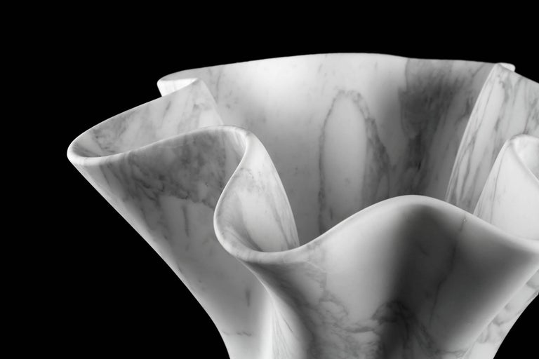 Vase Sculpture White Arabescato Marble from Carrara by Pieruga Marble For Sale 8