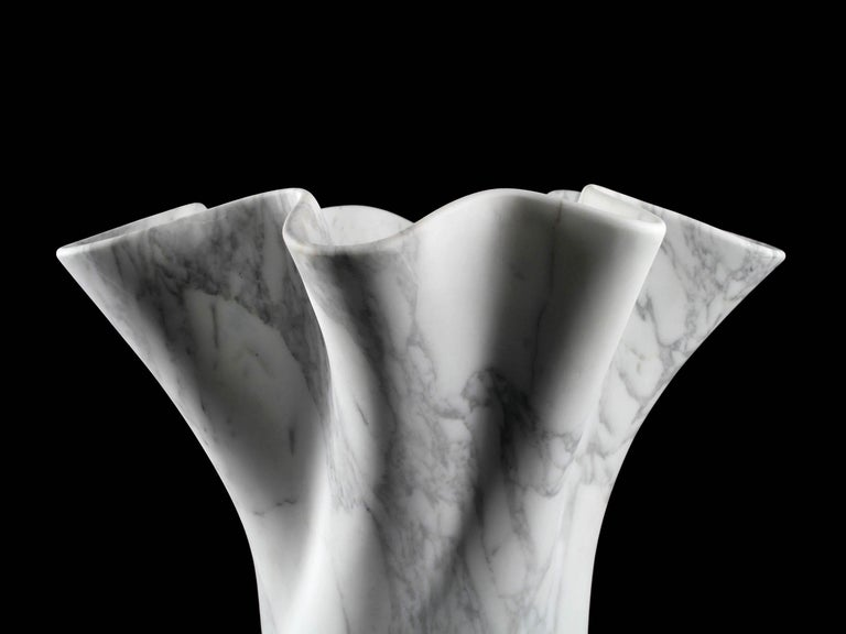 Vase Sculpture White Arabescato Marble from Carrara by Pieruga Marble For Sale 9