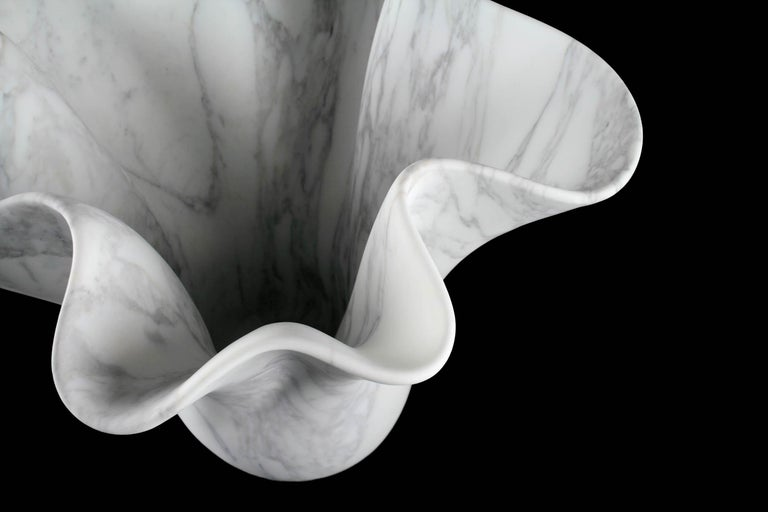 Vase Sculpture White Arabescato Marble from Carrara by Pieruga Marble For Sale 10