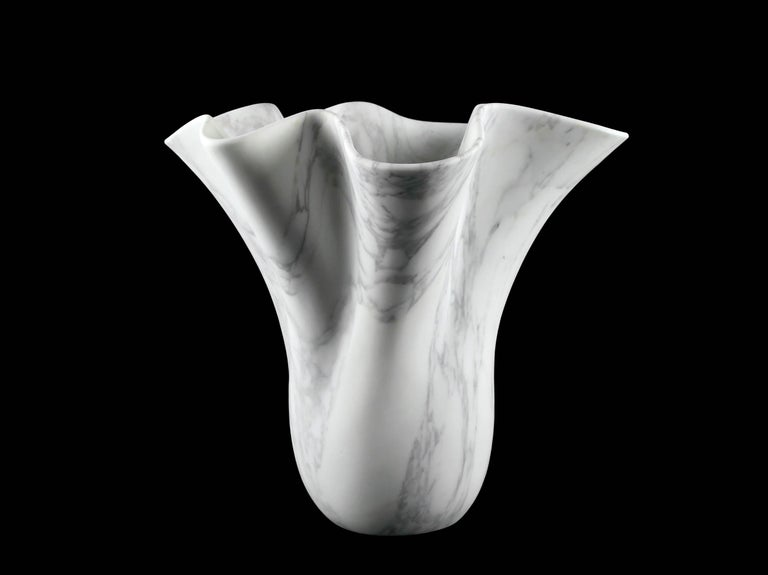 Vase Sculpture White Arabescato Marble from Carrara by Pieruga Marble For Sale 1