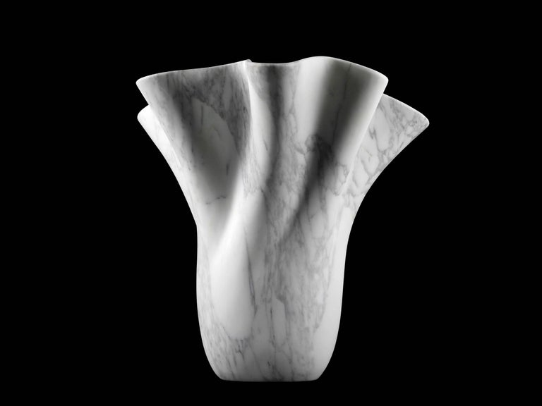 Vase Sculpture White Arabescato Marble from Carrara by Pieruga Marble For Sale 2
