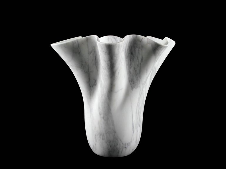 Vase Sculpture White Arabescato Marble from Carrara by Pieruga Marble For Sale 3