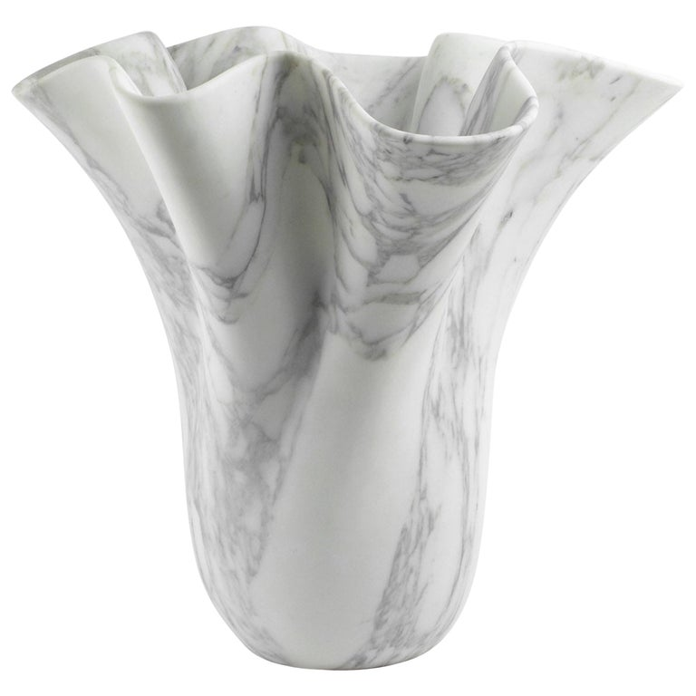 Vase Sculpture White Arabescato Marble from Carrara by Pieruga Marble For Sale