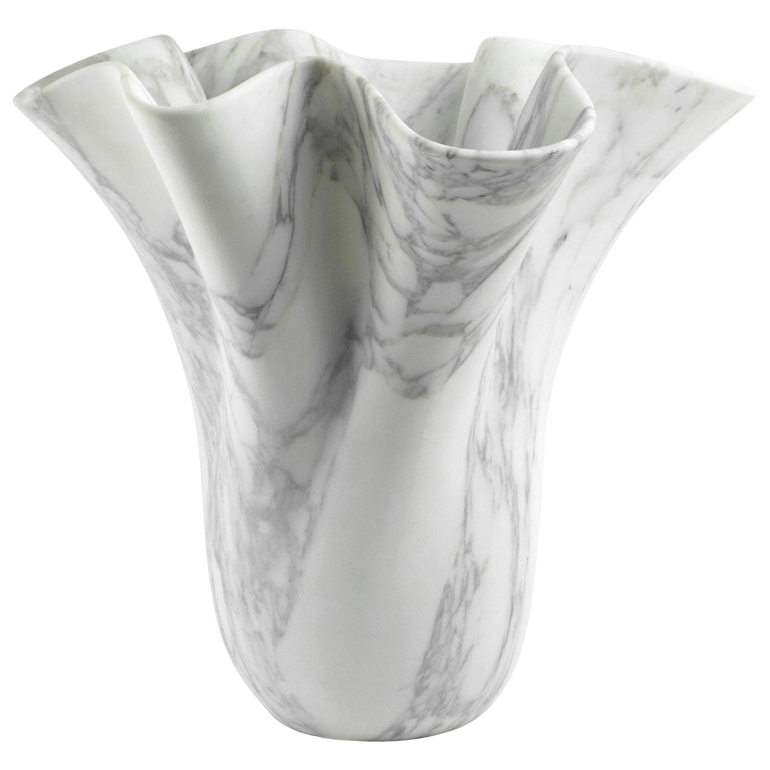 Vase Sculpture White Arabescato Marble from Carrara by Pieruga Marble