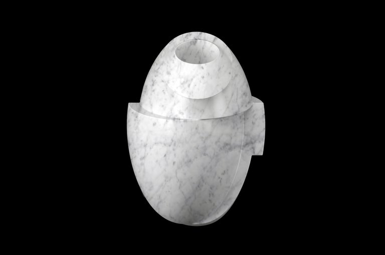 Vase Sculpture White Carrara Marble Contemporary Italian Design In New Condition For Sale In Ancona, Marche