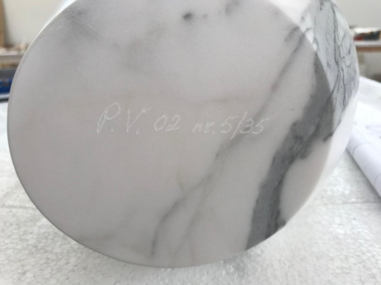 Vase Sculpture White Carrara Marble Contemporary Italian Design For Sale 3