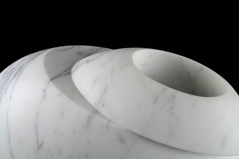 Contemporary Vase Sculpture White Statuary Marble from Carrara by Pieruga Marble For Sale