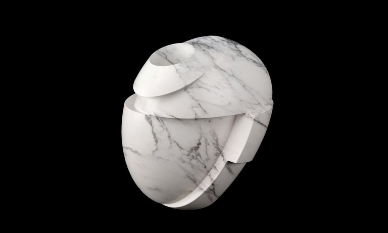 Modern Vase Sculpture White Statuary Marble from Carrara Contemporary Italian Design For Sale