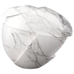 Vase Sculpture White Statuary Marble from Carrara Contemporary Italian Design
